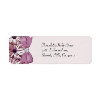 Pink Daisies Bow & Ribbon Wedding Return Address Label