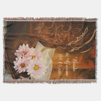 Pink Daisies Cowboy Boots Country Western Wedding Throw Blanket