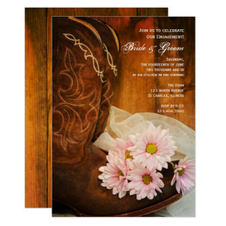 Pink Daisies Cowboy Boots Western Engagement Party Card