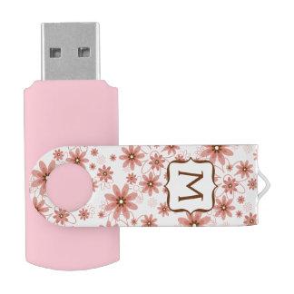 Pink Daisies Monogram USB Flash Drive