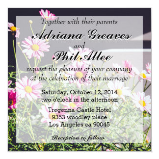 Pink Daisies On A Sunny Day 5.25x5.25 Square Paper Invitation Card