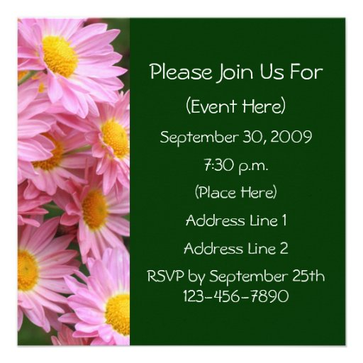 Pink Daisies Square Floral Invitation