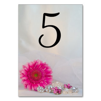 Pink Daisy and Diamond Buttons Table Numbers