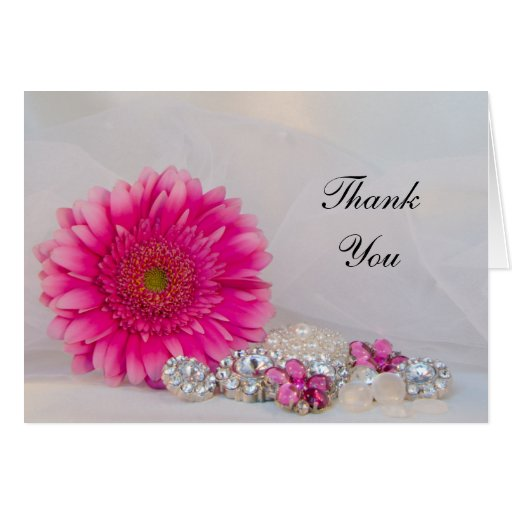 Pink Daisy and Diamond Buttons Thank You Note Card