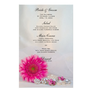 Pink Daisy and Diamond Buttons Wedding Menu Customised Stationery