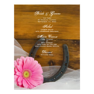 Pink Daisy and Horseshoe Country Wedding Menu 21.5 Cm X 28 Cm Flyer