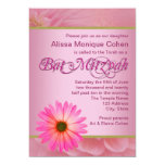 Pink Daisy Bat Mitzvah Invitations
