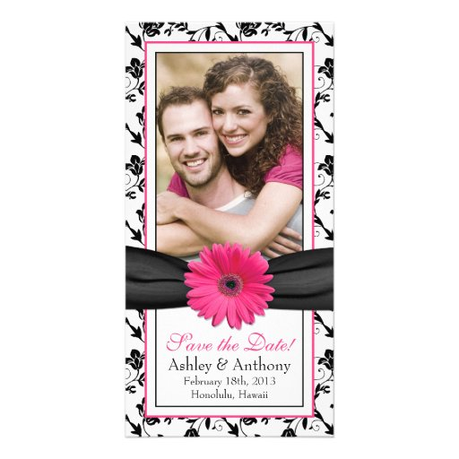 Pink Daisy Black Floral Ribbon Wedding Save Date Customized Photo Card