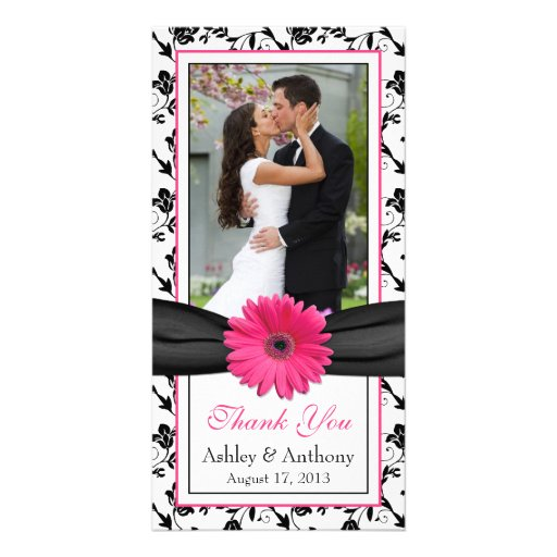 Pink Daisy Black Floral Ribbon Wedding Thank You Photo Card