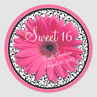 Pink Daisy Black White Floral Sweet 16 Birthday Classic Round Sticker