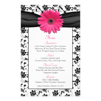 Pink Daisy Black White Floral Wedding Menu Card 14 Cm X 21.5 Cm Flyer