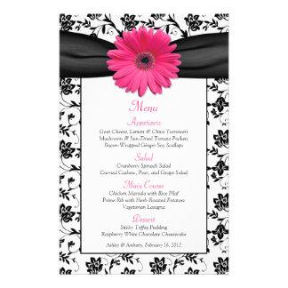 Pink Daisy Black White Floral Wedding Menu Card 14 Cm X 21.5 Cm Flyer