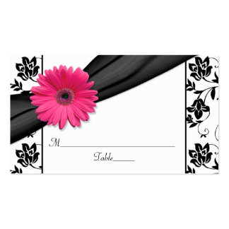 Pink Daisy Black White Floral Wedding Place Cards Pack Of Standard Business Cards