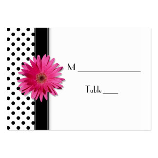 Pink Daisy Black White Polka Dot  Place Card Business Card Template