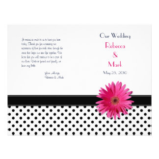 Pink Daisy Black White Polka Dot Wedding Program Flyer