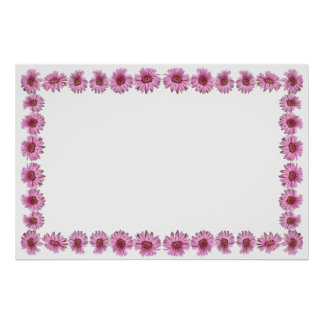 Pink Daisy Border with a Blank Field for Custom Te Poster