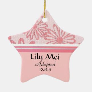 Pink Daisy Floral Adoption Announcement Ceramic Ornament