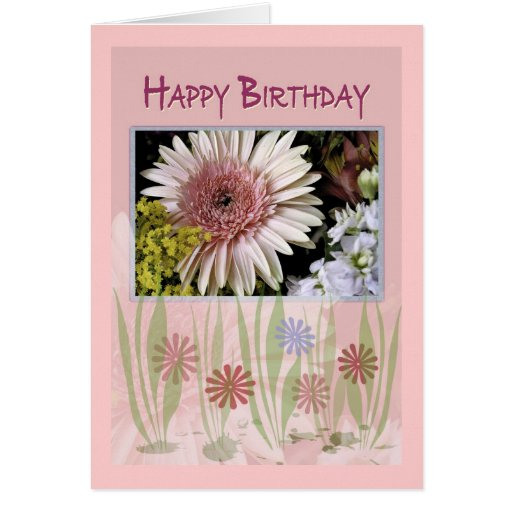Pink Daisy Floral Bouquet, Birthday, Anyone Cards