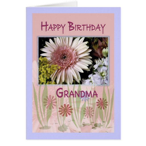 Pink Daisy Floral Bouquet, Grandma, Birthday Greeting Card