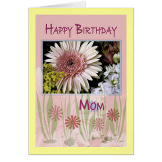 Pink Daisy Floral Bouquet Mom Birthday Card