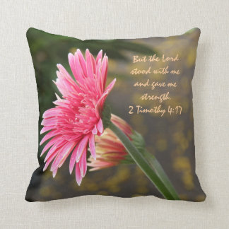 Pink Daisy Floral; Scripture Verse God's Strength Cushion