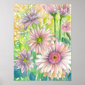 Pink Daisy Flower Bouquet Poster