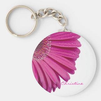 Pink daisy flower custom personalized girls name key ring