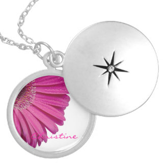 Pink daisy flower custom personalized girls name pendants