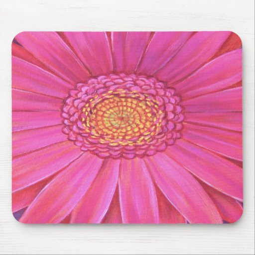 Pink Daisy Flower Painting - Mousepad