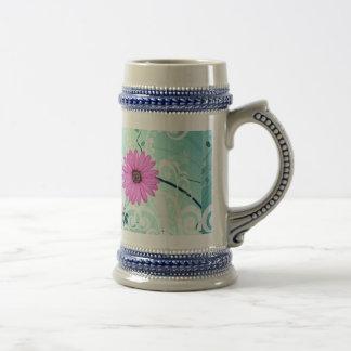 Pink Daisy Flowers Beautiful Design Beer Stein