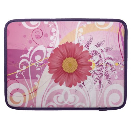 Pink Daisy Flowers Pictures Design Sleeves For MacBook Pro