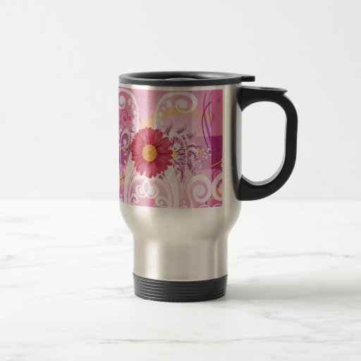 Pink Daisy Flowers Pictures Design Mugs