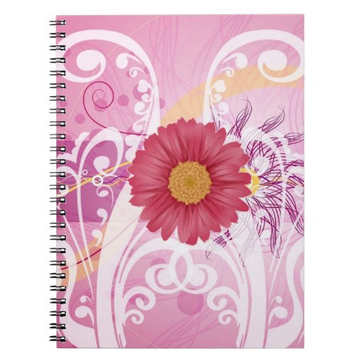 Pink Daisy Flowers Pictures Design Spiral Note Book
