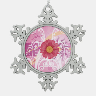 Pink Daisy Flowers Pictures Design Pewter Snowflake Decoration