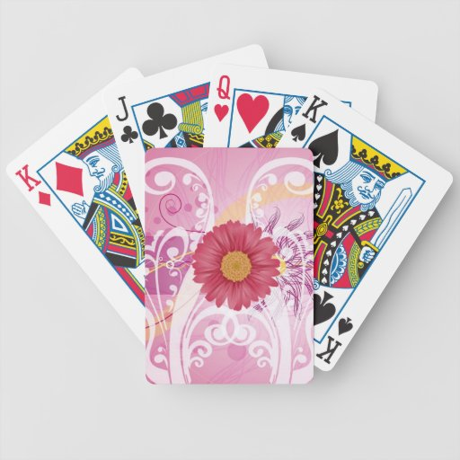 Pink Daisy Flowers Pictures Design Deck Of Cards