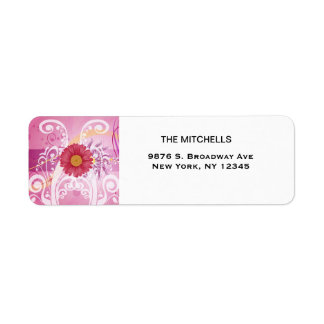 Pink Daisy Flowers Pictures Design Return Address Label