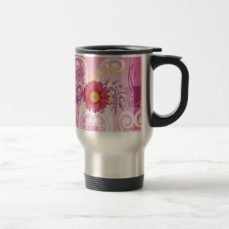 Pink Daisy Flowers Pictures Design Stainless Steel Travel Mug