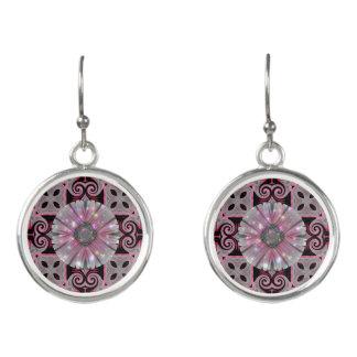 Pink Daisy Geometric Sparkle Design Earrings