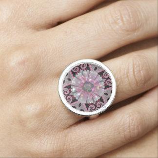 Pink Daisy Geometric Sparkle Design Ring
