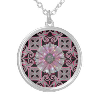 Pink Daisy Geometric Sparkle Design Silver Plated Necklace