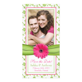 Pink Daisy Green Floral Ribbon Wedding Save Date Customised Photo Card