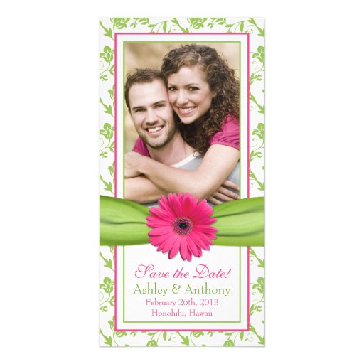 Pink Daisy Green Floral Ribbon Wedding Save Date Photo Card