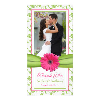 Pink Daisy Green Floral Ribbon Wedding Thank You Card