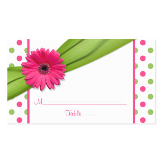 Pink Daisy Green Polka Dot Ribbon Place Cards Pack Of Standard Business Cards