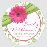 Pink Daisy Green White Floral First Communion