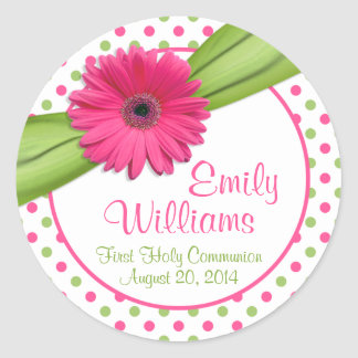 Pink Daisy Green White Polka Dots First Communion Classic Round Sticker