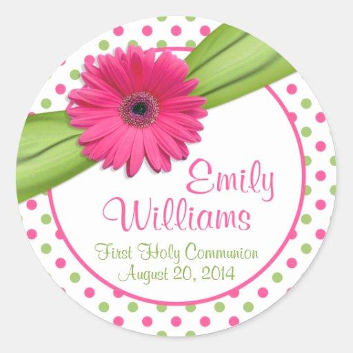 Pink Daisy Green White Polka Dots First Communion Round Sticker
