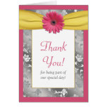 Pink Daisy Grey Yellow Damask Wedding Thank You Note Card