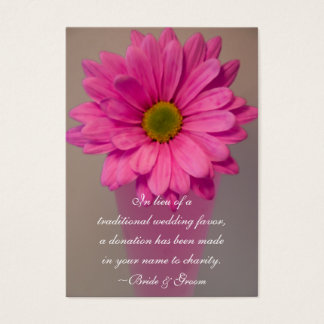 Pink Daisy in Vase Wedding Charity Favor Card