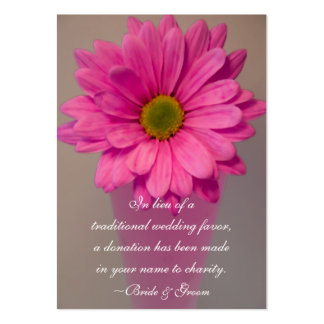Pink Daisy in Vase Wedding Charity Favor Card Pack Of Chubby Business Cards